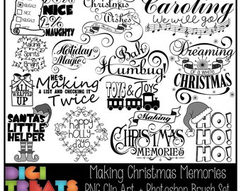 50% OFF Making Christmas Memories Word Art + Photoshop Brushes, Christmas Word Overlays, Scrapbooking embellishment, Card Making,