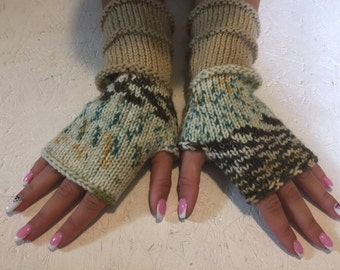 sale off 20%! Knit Fingerless gloves  Mittens  Long Arm Warmers  Boho Glove  Women Fingerless Wrist Warmers Gift ready to ship!