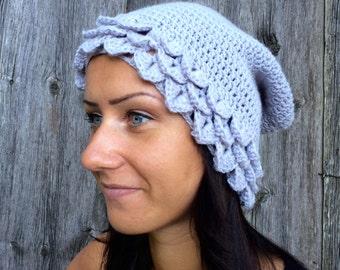 Womens Hat, dragon scale hat Slouchy Beanie Hat, Crochet winter hat, Hand Crochet Hat Womens Hat - slouchy Hat ,light gray women hat
