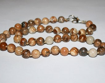 Necklace picture Jasper. Picture Jasper beads 8 mm.
