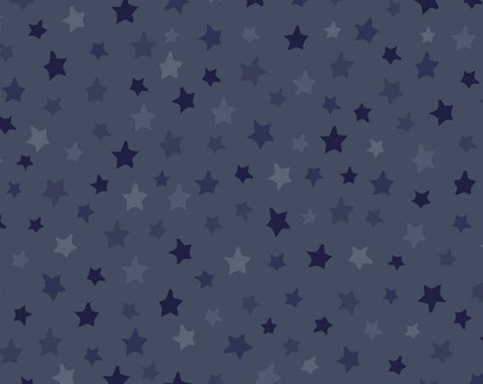 One Yard Be Strong, Be Brave - Tonal Stars in Dark Denim Blue - Cotton Quilt Fabric - Homefront Girl - Quilting Treasures - 24084-W (W3169)