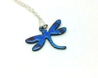 Reversible Blue Enamel Dragonfly Pendant Dragonfly Necklace Enamel Jewellery Torch Fired Enamel Jewellery