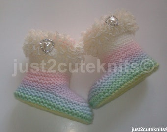 Hand Knitted Designer Baby Girl Booties Lots Of Lace Newborn Special Occasion Baby Shower Original Reborn Doll #40