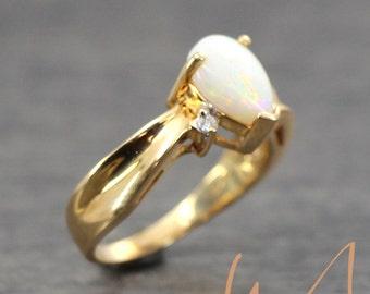 Opal & Diamond Bypass Ring - LCOR074