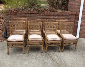 Gorgeous set of 8 wicker chairs