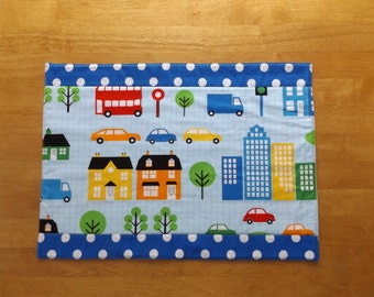 Sale - Handmade Quilted Childs Placemat with Cars, Trucks and Busses with Blue Dot Print Fabric, Table Topper, Kids Placemat