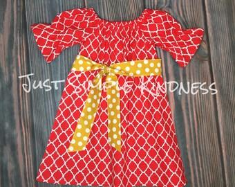 Girls Dresses, Girls' Clothing, Girls Red Dress, Baby girls red dress, Red Yellow Dress, baby girls dresses, Girls Dress, Girls Fall Dress