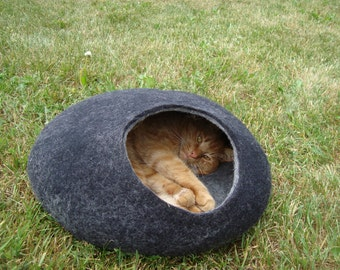 Cat bed/cat cave/cat house/ stylish felted cat cave/ any colors (With GIFT cat toy)