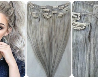 Gray/Silver High Quality 100% Real Virgin Remy Brazilian Human Hair Clip In Hair Extensions 7pcs/set 100g/120g set