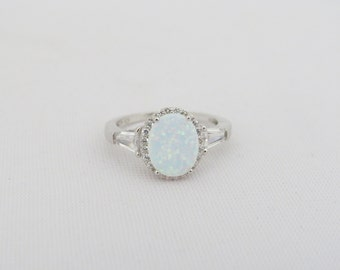 Vintage Sterling Silver Fire Opal & White Topaz Halo Ring Size 8