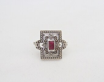 Vintage Sterling Silver Ruby Filigree Ring Size 7