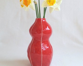 Flower vase. Medium size. Bright colored pottery with white stripes. Modern handmade ceramics for home and office decor. Good gift!