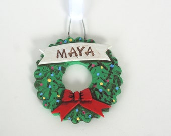 Personalized Wreath ornament for BOY or GIRL Christmas Ornament Christmas folk art ornament