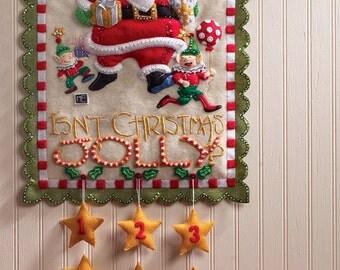 Bucilla Heigh Ho Santa ~ Felt Christmas Advent Calendar Wall Hanging Kit #86098 DIY