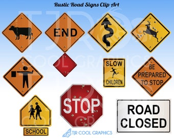 Rustic Road Signs Clipart, Construction Clip Art, Highway Signage, School Zone, Stop Sign, Deer Crossing, Teachers, Educational, Realistic
