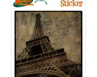 Eiffel Tower Above Paris Rovinato Vinyl Sticker - #64574