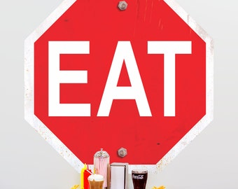 Eat Food Stop Sign Wall Decal - #65412