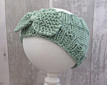 Mint Baby Girl Headband Bows, Bow Headwrap Baby, Vegan Baby, Knit Bow Headband, Baby Headband Bow, Knitted Ear Warmer Headband