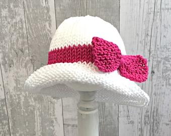 Newborn Sun Hat, Baby Girl Sun Hat, Floppy Hat with Bow, Baby Bucket Hat, Newborn Girl Hat with Bow, Summer Hat for Babies, Beach Hat