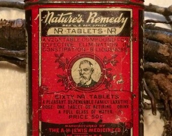"""Antique """"Nature's Remedy"""" Laxative Tablets Small Tin. 2"""" x 3"""""""