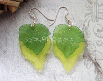 Lucite Leaves/Leaf Green Woodland Handmade Earrings Boho/Wicca UK