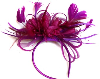 Plum Magenta and Fuchsia Hot Pink Fascinator on Headband Alice Band UK Wedding Ascot Races Loop