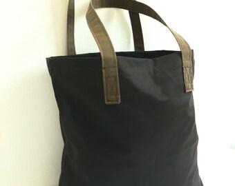 Market bag, waxed cotton shopping bag, reusable shopping tote bag, everyday casual bag