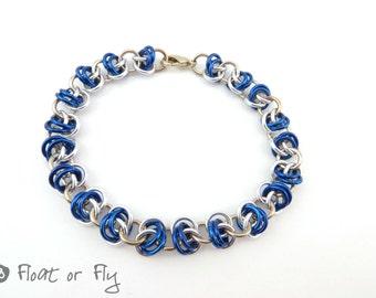 Barrel Weave Chain Maille Bracelet - Blue & Silver