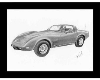Car art pencil drawing of a 1978 Chevrolet Corvette