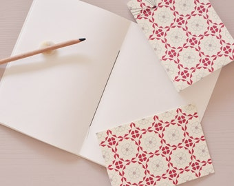 Stationery set, 2 notebooks and a card, handmade, red floral pattern
