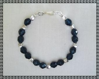 blue bracelet, dark blue bracelet, blue crystal bracelet, dark blue