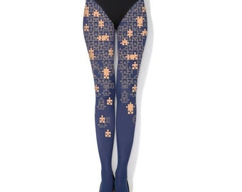 SALE PUZZLE  -  navy hand printed tights