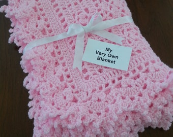 Blossom Pink Lace Hand Crocheted Baby Girl Blanket