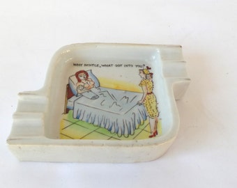 1950s Kitsch Ashtray, Individual Ashtray, Made in Japan, Funny Ashtray