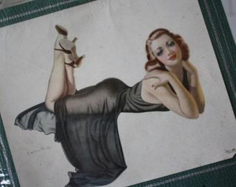 Art Deco 1957 Wall Calendar J.Wilson McCoy At Ease Pin Up Girl