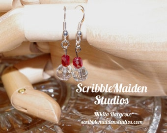 Red and Glass Drop Earrings
