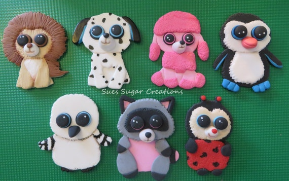 Beanie Boos customized edible fondant by SuesSugarCreations