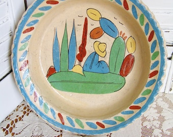 Vintage Colorful TLAQUEPAQUE Folk Art Pottery Bowl with Pie Crust Edge Hand Painted Hand Made Clay Bowl Circa 40s Cactus