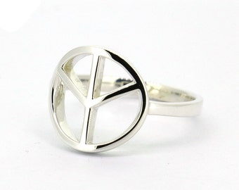 Peace Ring in Solid Sterling Silver Handmade All Sizes