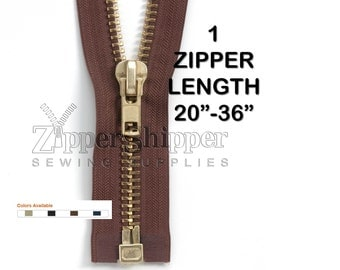 "Brass Metal Zipper, Heavy Duty #10 Separating, For Leather Jackets +More-  20"", 22"", 24"", 26"", 28"", 30"" or 36"" Black Beige Brown or Navy"