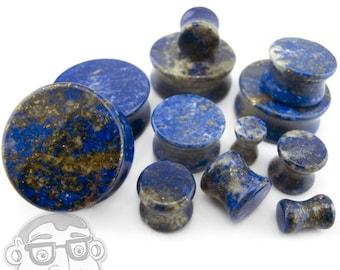 "Lapis Lazuli Stone Plugs (2 Gauge - 1 & 1/2"" Inch) Sold In Pairs - New!"