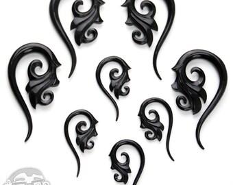 Black Horn Ornamental Hangers Spirals - Sizes / Gauges (8G, 6G, 4G, 2G)