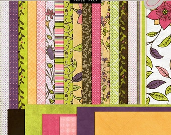 Summer and Spring Flowers DIGITAL Scrapbook Papers - INSTANT DOWNLOAD