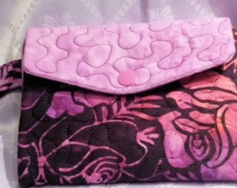 Hand Made - Custom - Womans Trifold Fabric Wallet- Wristlet - Washable -  Quilted - Purple Batiks -
