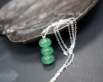 Natural Green Aventurine Necklace Silver - Sterling Silver Genuine Rondelle Aventurine Jewelry  Heart Chakra Healing Handmade Stone Neckalce