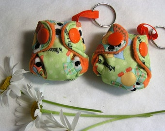 Cloth Diaper Keychain diaper fob!  Owl POCKET diaper key chain with insert, Weensy Baby key chain diaper