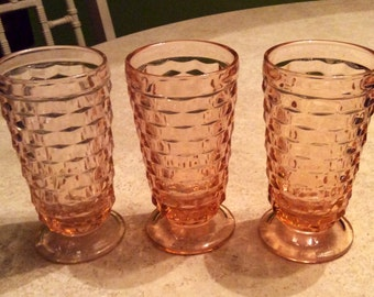 Reduced! Indiana Glass Pink/Peach Tumblers