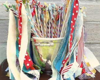 Summer Wedding Wands, Set of 12,Streamers With Bell, Bright Color Bride Groom Send Off, Boho Birthday Party Favors, Eclectic Reception Decor