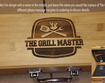 Gift for Dad, Personalized gift, Grill set, BBQ set, Personalized grill set, engraved gift set, bamboo grilling set, Christmas gift for Dad
