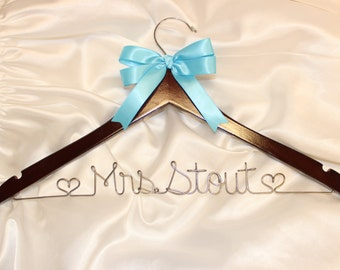 Personalized wedding dress hanger, custom bridal hanger,  wedding hanger,  wedding name hanger,  personalized wedding, wire name hanger